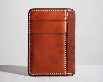 Hand stitched brown leather card holder