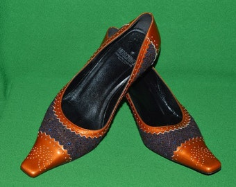 Vintage Moschino Cheap and Chic Shoes Leather Wool Crystal. 1990s