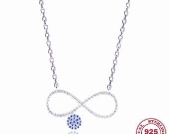 Genuine 925 Sterling Silver Cubic Zircon Evil Eye Infinity Dainty Necklace