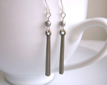 Petite Stick Mixed Metal Bar earrings - pewter and brass - minimalist jewellery - nickel free
