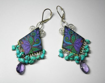 Polymer Clay Millefiori Gemstone Fringe Earrings-amethyst-sleeping beauty turquoise-sterling silver