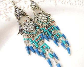 Stunning Hanging Earrings Royal Turqoise Beads Dangle Earrings for her, Handmade Earrings, Bridal Jewelry, floral earrings, Long earrings