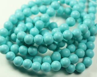 South Sea Shell Pearl, Matte Finish Turquoise Smooth Round shell Pearl Beads, 16 Inch Strand, 6mm, H-002