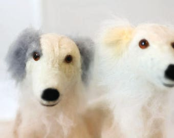 A PAIR of custom needle felted dogs. Two bespoke dog sculptures. Silken Windhound Ornaments, Sighthound Art