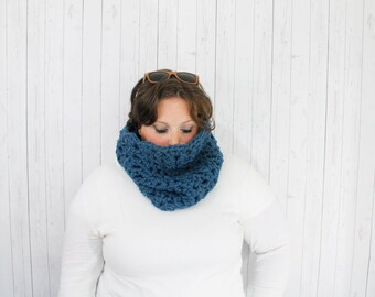 The Maggie Crochet Chunky Cowl, Crochet Cowl,  Crochet Cowl Neckwarmer in Denim, Wool Blend