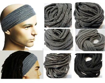 Mens Headband Dreadband Mens Hair Accessory Dreadlock Wrap Dreadlocks Headband for Men Dreadlock Wide Hair Wrap Tube  Marl Gray Headband