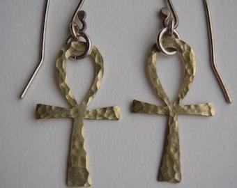 Handcrafted Egyptian Ankh brass earrings
