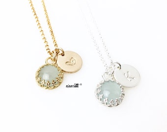 Genuine Aquamarine Necklace / 14k Gold Filled or Sterling Silver March Birthstone Necklace / March Birthday Dainty Necklace Gift for Her