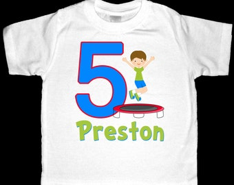 Personalized Birthday Trampoline Shirt or Bodysuit for a Boy - Personalized with ANY name and age - You choose hair and skin colors
