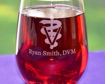 Personalized Custom Engraved Veterinarian Glass, Vet Graduation Gift, Vet Retirement Gift, Good Day Rough Day, Employee Appreciation Gift