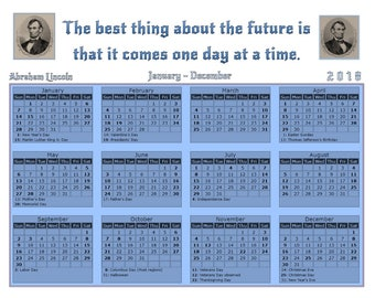 2018 2019 calendars, Abraham Lincoln quote, Inspirational quote calendar printable, 1 Page 2 Year planner pages, Home decor wall art, Future