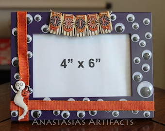 "4""x6"" Wiggly Eyes and Mummy Halloween Decorative Photo Frame"