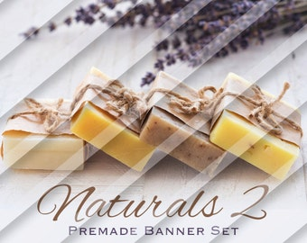 "Etsy Shop Banner Set - Graphic Banners - Branding Set - ""Naturals 2"""