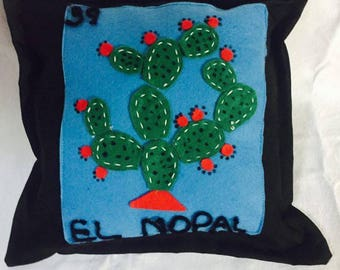 Lottery pillow, Mexican lottery, decorative pillow, lottery cushion, felt cushion, Mexican pillow, nopal pillow