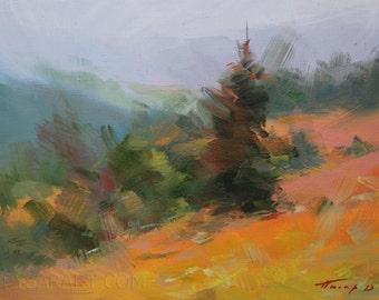 Autumn painting forest, Green orange landscape art, Landscape oil painting, Landscape canvas art painting