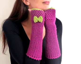 Crochet fingerless gloves, arm warmers, mittens, fingerless mitts - plum purple with lime green bow - FRISKIES