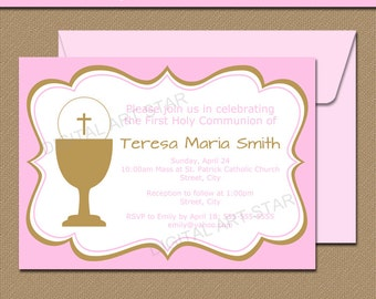 Pink and Gold First Communion Invitation Printable - Girl First Communion Invitation Template - First Communion Decor - Instant Download