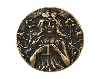 Maiden 1 inch ( 26 mm ) Susan Clarke Metal Buttons Antique Brass Color