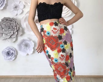 Pencil lace skirt; colorful lace; midi skirt;