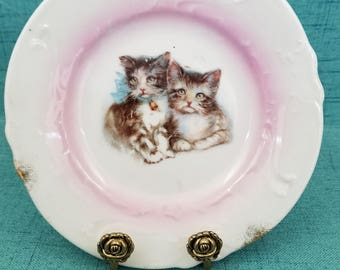 Vintage Saucer with Portraits of Kittens