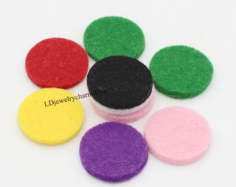SS001 Felt Pad Diffuser - 20pcs Round 22.5mm Refill for Stainless Steel Essential Oil Diffuser Necklace Perfume Locket Pendant