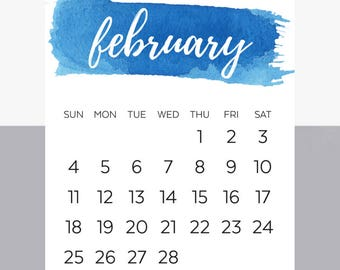 Watercolor 2018 Printable Calendar- Desk or Office Calendar - Simple and Cute