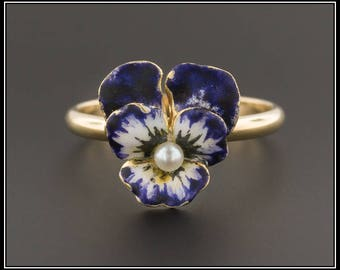 RESERVED for J. - Antique Pansy Ring | Antique Pin Conversion Ring | Purple Enamel Pansy Ring | 14k Gold Flower Ring | Antique Flower Ring