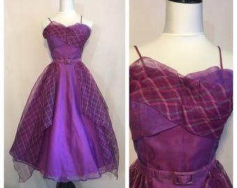 Vintage 1950's Purple Plaid Dress