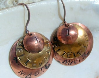 """Handstamped, Antiqued Copper, Antiqued Brass """"I Believe in Magic"""" Earrings,Jewelry"""