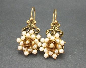 Vintage Pearl Bead and Metal Rose Dangle Hook Earrings, Victorian Inspired Faux Pearl Drop Hook Earrings, Ornate Brass Floral Earrings