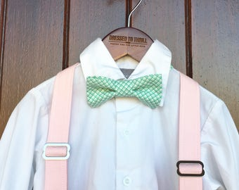 Easter Bowtie, Childs Easter Outfit, Little Boy Easter, Easter gingham bowtie, Easter aqua plaid tie, boy Easter outfit, pink suspender set