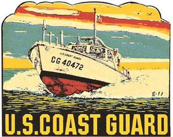 Vintage Style  USCG  US Coast Guard Military  Travel Decal sticker