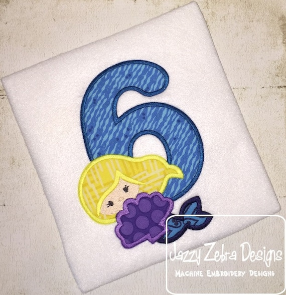 Mermaid Six Applique Embroidery Design - 6th birthday appliqué design - six year old - sixth birthday appliqué design - birthday appliqué