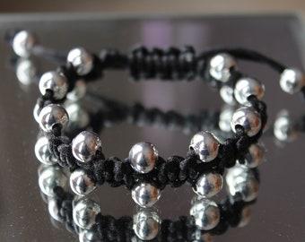 Bollywood Macrame Adjustable Bracelet, 8mm Silver Beads