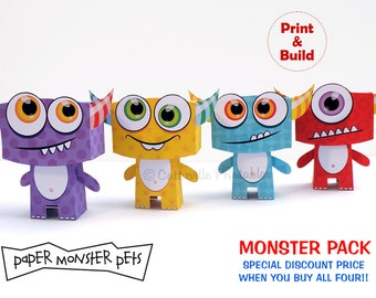 PDF Printable Paper Monster Pets - All Four Character Gift Boxes - Special Discount Price - INSTANT DOWNLOAD - Editable Text