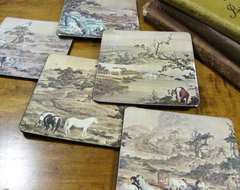 Vintage Horse Themed - Felt Backed Coasters - Set of Five (5)
