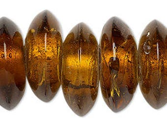 Lampwork Bead, Honey Saucer, Glass Bead, 21x9mm to 23x10mm with 6mm Hole, 7 Beads, D1042