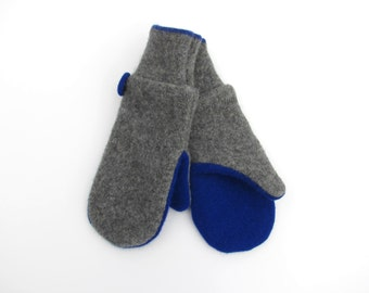Wool Mittens // Fleece Lined Felted Wool Mittens // Gray and Cobalt Blue Recycled Wool Sweater Mittens