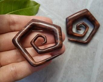 1 PAIR SONO WOOD brown hook spiral earring 00 Gauge 10 mm Size Hexagon earrings