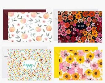 Cartes postales, ensemble de carte, enveloppe, bee happy, carte de voeux, fleurs, abeilles, toucan, aloha, papeterie, carte à message, vert