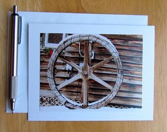 Wooden Wheel Card, Photo Note Card, Stationery, Blank Cards, Note Cards, Cards with Envelopes, Wooden Wheel, Notecards, Antique Note Card