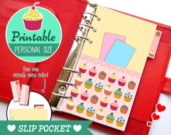Personal Size Slip Pocket Cute Kawaii Cupcakes DIY for Filofax Organizer Planner Printable PDF Instant Download