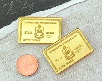 2 GOLD MIRROR Credit Cards - Fancy Fun Cabochons - Laser Cut Acrylic