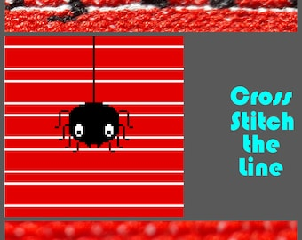 Modern cross stitch pattern ideal for spider lovers everywhere. Minimalist embroidery chart. Contemporary design
