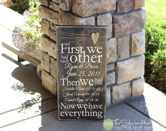First We Had Each Other Then We Had You Now We Have Everything Wood Sign - Custom Names Dates - Distressed Wooden Sign - Signs - S227