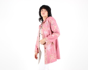 90s Wearable Art FLOWER GARDEN Embroidered Baby Pink Fun Avant Garde Long Jacket / Trench Coat