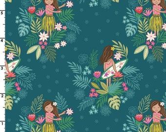 Island Girl on Dark Teal  A191.3 - ISLAND GIRL - Lewis and Irene Fabric - By the Yard