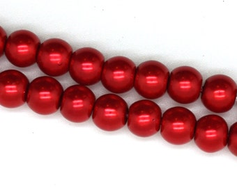 Christmas Red Glass Faux Pearl Strands - 6mm