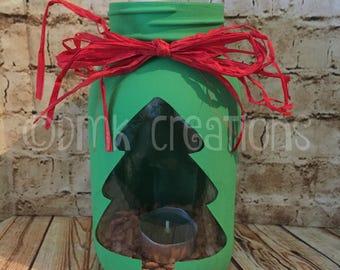 Christmas Tree Painted Mason Jar Tea Light Candle Holder, mason jar, tea light candle holder, Christmas tree, painted mason jar, pine candle