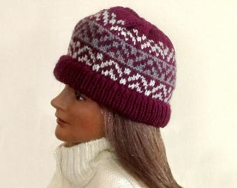 Fair Isle beanie, hand knit wool hat, Icelandic wool hat, winter knit hat, Nordic wool hat, wool knit ski cap, Fair Isle knit hat, wool hat